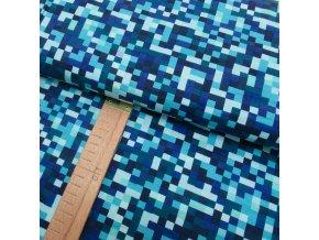 Úplet - Mozaika modrá - šíře 150cm/1bm