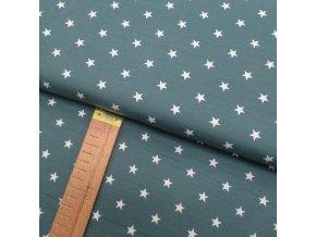 Úplet - Hvězdy bílé na šalvějové - šíře 150cm/1bm