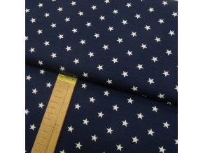 Úplet - Hvězdy bílé na tmavě modré - šíře 150cm/1bm
