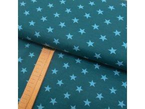 Teplákovina - Hvězdy modré na petrolejové - šíře 150cm/1bm