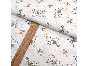 Bavlněné plátno - Kočky na bílé - šíře 150cm/1bm