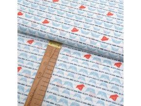 Bavlněné plátno - Lodičky modré na bílé - šíře 150cm/1bm