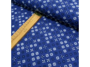 Bavlněné plátno - Květy modré a bílé na modré - šíře 150cm/1bm