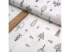 Bavlněné plátno - Stromečky černé na bílé - šíře 150cm/1bm