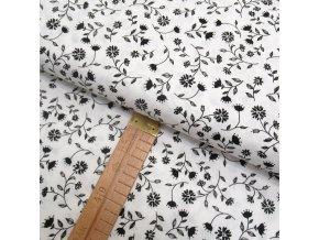 Bavlněné plátno - Květiny černé na bílé - šíře 150cm/1bm