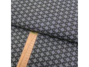 Bavlněné plátno - Geometrie hvězdy bílé na černé - šíře 150cm/1bm