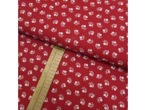 Bavlněné plátno - Květy a listy bílé na červené - šíře 150cm/1bm