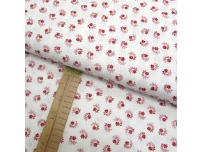 Bavlněné plátno - Květy a listy červené na bílé - šíře 150cm/1bm