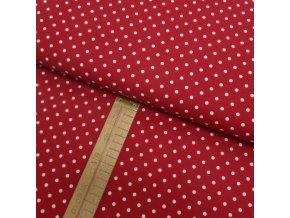 Bavlněné plátno - Puntík bílý na červené - šíře 150cm/1bm