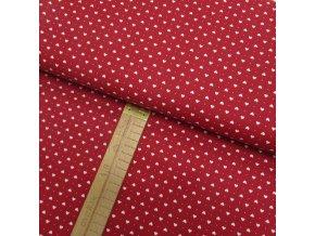 Bavlněné plátno - Srdíčka bílá na červené- šíře 150cm/1bm