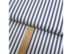 Bavlněné plátno - Pruhy modrá, bílá - šíře 150cm/1bm