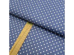 Bavlněné plátno - Puntík bílý na modré - šíře 150cm/1bm