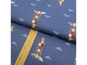 Bavlněné plátno - Majáky na modré - šíře 150cm/1bm