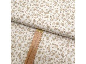 Bavlněné plátno - Růžičky béžové - šíře 150cm/1bm