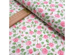 Bavlněné plátno - Růžičky růžové na bílé - šíře 150cm/1bm