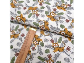 Bavlněné plátno - Tygříci na bílé - šíře 150cm/1bm