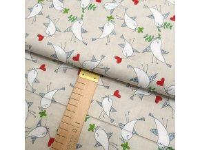 Bavlněné plátno - Ptáčci na béžové - šíře 160cm/1bm