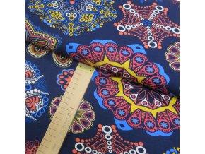 Úplet - Květy a mandaly na modré - šíře 150cm/1bm