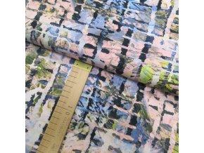 Úplet viskózový - Rozpité čárky - šíře 150cm/1bm