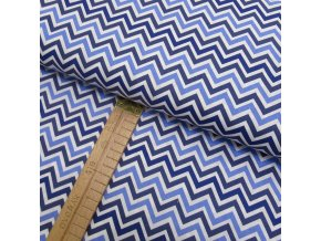 Bavlněné plátno - Chevron modrá, bílá - šíře 150cm/1bm