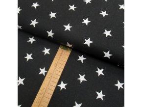 Bavlněné plátno - Hvězdy bílé na černé - šíře 150cm/1bm