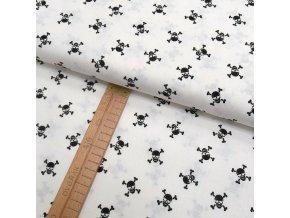 Bavlněné plátno - Lebky černé na bílé - šíře 150cm/1bm