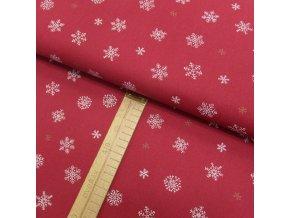 Bavlněné plátno - Vločky bílé a zlaté na červené - šíře 150cm/1bm