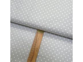 Bavlněné plátno - Puntík bílý na světle šedé - šíře 150cm/1bm