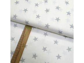Bavlněné plátno - Hvězda světle šedá na bílé - šíře 150cm/1bm