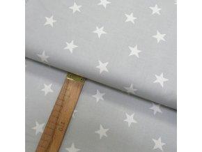 Bavlněné plátno - Hvězda bílá na světle šedé - šíře 150cm/1bm