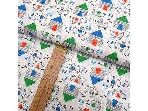 Bavlněné plátno - Psi na bílé - šíře 160cm/1bm