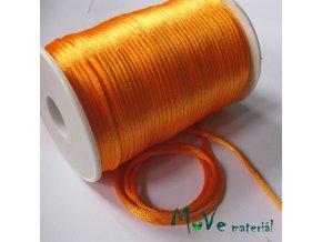 Šňůra 2mm saténová, sv. oranžová, 1m