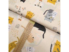 Bavlněné plátno - Kočky na béžové - šíře 160cm/1bm
