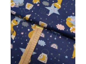 Bavlněné plátno - Lišky na modré - šíře 160cm/1bm