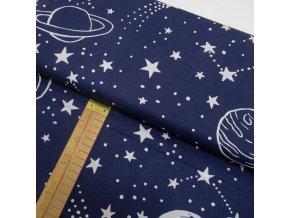 Bavlněné plátno - Vesmír, hvězdy tmavě modrá - šíře 160cm/1bm