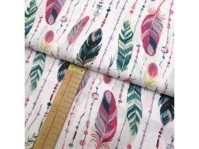 Bavlněné plátno - Peří růžová, petrolejová na bílé - šíře 160cm/1bm