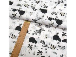 Bavlněné plátno - Zebry a hrošíci na bílé - šíře 150cm/1bm