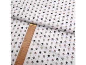 Bavlněné plátno - Tlapky hnědé na bílé - šíře 150cm/1bm