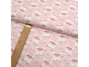 Bavlněné plátno - Kočky a duha na růžové - šíře 150cm/1bm
