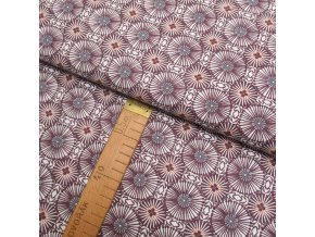 Bavlněné plátno - Kruhy vínovo-růžové - šíře 150cm/1bm