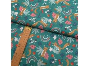 Bavlněné plátno - Veverky na smaragdové - šíře 150cm/1bm