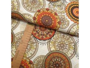 Bavlněné plátno - Mandaly oranžová, žlutá, hnědá na bílé - šíře 140cm/1bm