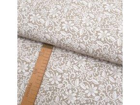Potahové plátno - Krajka bílá na béžové - šíře 140cm/1bm