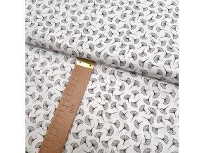 Bavlněné plátno - Ginkgo biloba černá na bílé - šíře 140cm/1bm