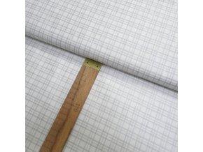 Bavlněné plátno - Kostka stříbrotisk na bílé - šíře 140cm/1bm