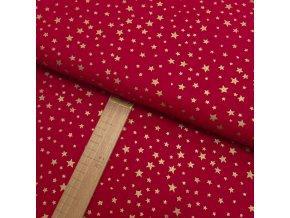 Bavlněné plátno - Hvězdy zlaté na červené - šíře 150cm/1bm