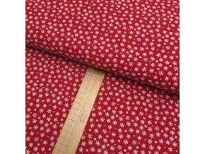 Bavlněné plátno - Vločky bílé na červené - šíře 150cm/1bm