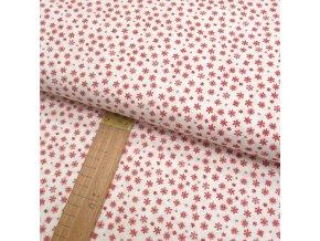 Bavlněné plátno - Vločky červená na krémově bílé - šíře 150cm/1bm