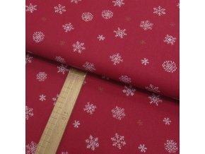 Bavlněné plátno - Vločky bílé a zlaté na tmavší červené - šíře 150cm/1bm