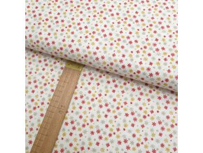 Bavlněné plátno - Vločky červené, zlatožluté, šedé na krémově bílé - šíře 150cm/1bm